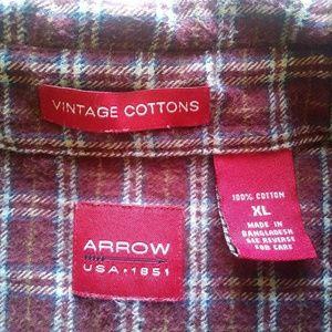 Arrow Shirts - Arrow Flannel Button Down Shirt Size XL